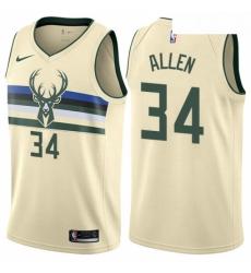 Mens Nike Milwaukee Bucks 34 Ray Allen Authentic Cream NBA Jersey City Edition