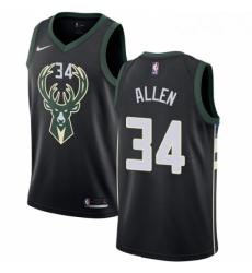 Mens Nike Milwaukee Bucks 34 Ray Allen Swingman Black Alternate NBA Jersey Statement Edition