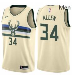 Mens Nike Milwaukee Bucks 34 Ray Allen Swingman Cream NBA Jersey City Edition