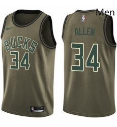 Mens Nike Milwaukee Bucks 34 Ray Allen Swingman Green Salute to Service NBA Jersey