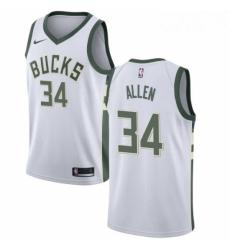 Mens Nike Milwaukee Bucks 34 Ray Allen Swingman White Home NBA Jersey Association Edition