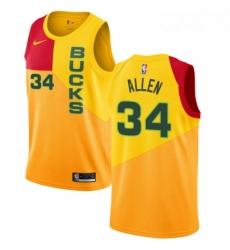 Mens Nike Milwaukee Bucks 34 Ray Allen Swingman Yellow NBA Jersey City Edition