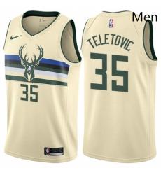 Mens Nike Milwaukee Bucks 35 Mirza Teletovic Authentic Cream NBA Jersey City Edition