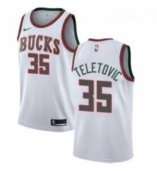 Mens Nike Milwaukee Bucks 35 Mirza Teletovic Authentic White Fashion Hardwood Classics NBA Jersey