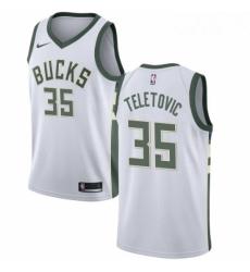Mens Nike Milwaukee Bucks 35 Mirza Teletovic Authentic White Home NBA Jersey Association Edition