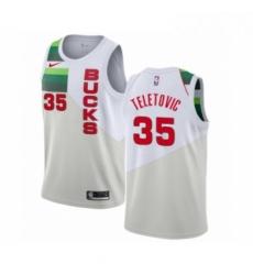 Mens Nike Milwaukee Bucks 35 Mirza Teletovic White Swingman Jersey Earned Edition