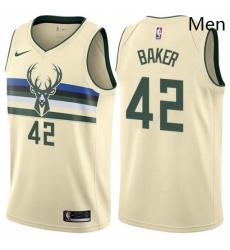 Mens Nike Milwaukee Bucks 42 Vin Baker Swingman Cream NBA Jersey City Edition