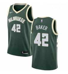 Mens Nike Milwaukee Bucks 42 Vin Baker Swingman Green Road NBA Jersey Icon Edition