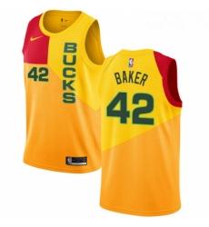 Mens Nike Milwaukee Bucks 42 Vin Baker Swingman Yellow NBA Jersey City Edition