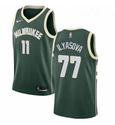 Mens Nike Milwaukee Bucks 77 Ersan Ilyasova Swingman Green NBA Jersey Icon Edition