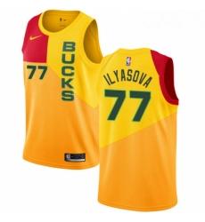 Mens Nike Milwaukee Bucks 77 Ersan Ilyasova Swingman Yellow NBA Jersey City Edition