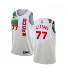 Mens Nike Milwaukee Bucks 77 Ersan Ilyasova White Swingman Jersey Earned Edition
