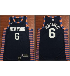 Knicks 6 Kristaps Porzingis Navy 2018 19 City Edition Nike Swingman Jersey