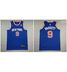 Knicks 9 R J  Barrett Blue Nike Authentic Jersey