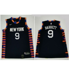 Knicks 9 R J  Barrett Navy City Edition Nike Swingman Jersey