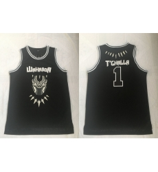 Men Black Panther 1 T'Challa Black Movie Basketball Jersey
