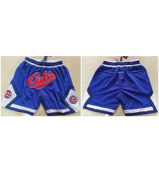 Men Chicago Cubs Team Logo Royal Just Don Pocket Baseball Shorts
