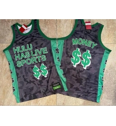 Men Hulu Has Live Sports Black $$ Money Stitched Basketball Jersey