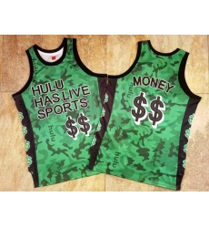 Men Hulu Has Live Sports Green $$ Money Stitched Basketball Jersey