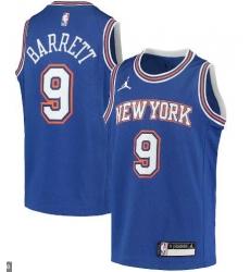 Men Jordan Brand RJ Barrett Blue New York Knicks Swingman Player Jersey
