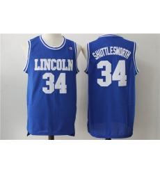 Men Lincoln 34 Shuttlesworth Blue Movie Stitched Jersey