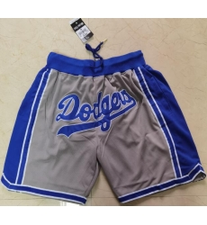 Men Los Angeles Dodgers Team Logo Gray Pocket Baseball Shorts
