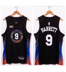 Men New York Knicks 9 R J  Barrett Black 2020 21 City Edition Swingman Jersey