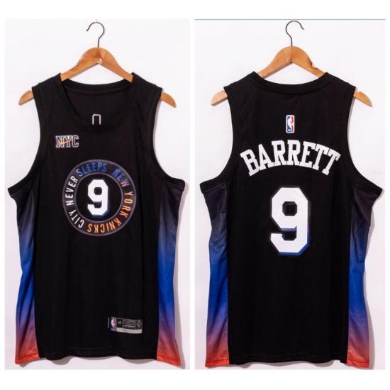 Men New York Knicks 9 R.J. Barrett Black 2020 21 City Edition Swin