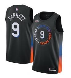 Men New York Knicks R J Barrett 9 Black 2021 City Edition NBA Jersey