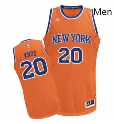 Mens Adidas New York Knicks 20 Kevin Knox Swingman Orange Alternate NBA Jersey