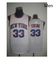 Mens Adidas New York Knicks 33 Patrick Ewing Swingman White Throwback NBA Jersey