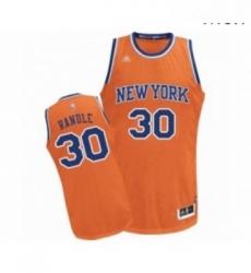 Mens New York Knicks 30 Julius Randle Authentic Orange Alternate Basketball Jersey