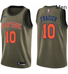 Mens Nike New York Knicks 10 Walt Frazier Swingman Green Salute to Service NBA Jersey