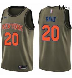 Mens Nike New York Knicks 20 Kevin Knox Swingman Green Salute to Service NBA Jersey