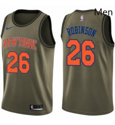 Mens Nike New York Knicks 26 Mitchell Robinson Swingman Green Salute to Service NBA Jersey
