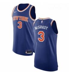 Mens Nike New York Knicks 3 Tracy McGrady Authentic Royal Blue NBA Jersey Icon Edition