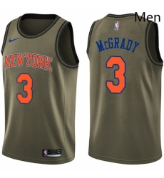 Mens Nike New York Knicks 3 Tracy McGrady Swingman Green Salute to Service NBA Jersey