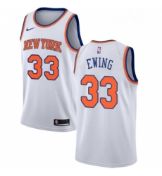 Mens Nike New York Knicks 33 Patrick Ewing Authentic White NBA Jersey Association Edition