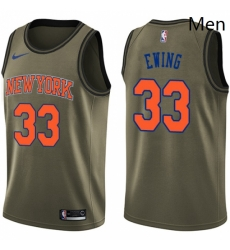 Mens Nike New York Knicks 33 Patrick Ewing Swingman Green Salute to Service NBA Jersey