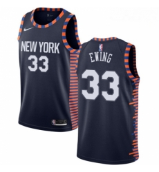 Mens Nike New York Knicks 33 Patrick Ewing Swingman Navy Blue NBA Jersey 2018 19 City Edition