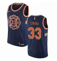 Mens Nike New York Knicks 33 Patrick Ewing Swingman Navy Blue NBA Jersey City Edition