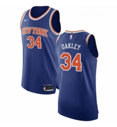 Mens Nike New York Knicks 34 Charles Oakley Authentic Royal Blue NBA Jersey Icon Edition