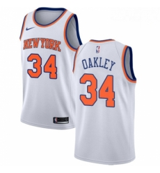 Mens Nike New York Knicks 34 Charles Oakley Authentic White NBA Jersey Association Edition