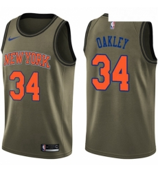 Mens Nike New York Knicks 34 Charles Oakley Swingman Green Salute to Service NBA Jersey
