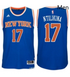 New York Knicks 17 Frank Ntilikina Road Blue New Swingman Stitched NBA Jersey