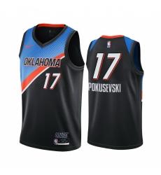 Men Nike Oklahoma City Thunder 17 Aleksej Pokusevski Black NBA Swingman 2020 21 City Edition Jersey