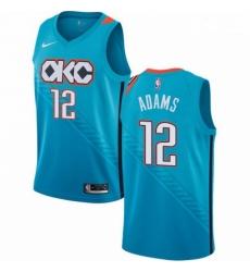 Mens Nike Oklahoma City Thunder 12 Steven Adams Swingman Turquoise NBA Jersey City Edition