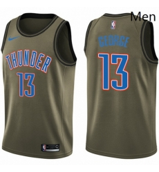 Mens Nike Oklahoma City Thunder 13 Paul George Swingman Green Salute to Service NBA Jersey
