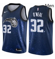 Mens Nike Orlando Magic 32 Shaquille ONeal Authentic Blue NBA Jersey City Edition