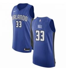 Mens Nike Orlando Magic 33 Grant Hill Authentic Royal Blue Road NBA Jersey Icon Edition